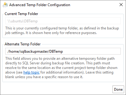 Advanced temp folder configuration